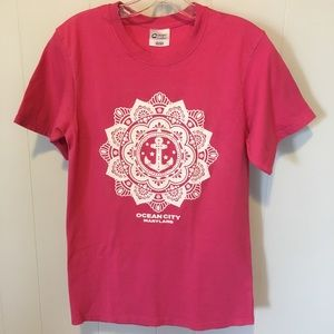 SALE- Ocean City MD. Tee Pink with Flower/Anchor S